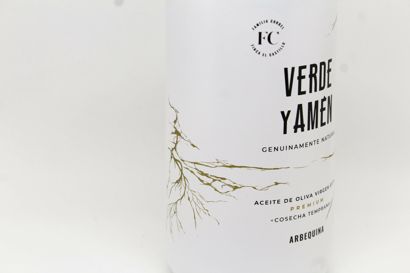 Aceite de Oliva Virgen Extra Verde y Amen Arbequina 500ml detalle diseño