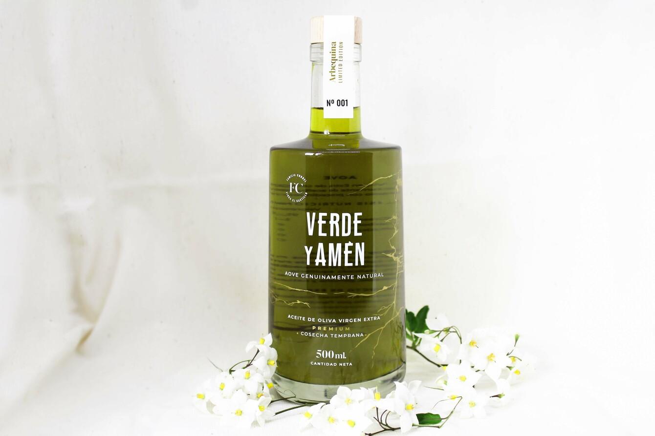 Aceite de Oliva Virgen Extra Verde y Amen Arbequina 500ml edición limitada numero 1